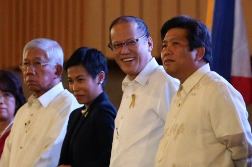 "President Benigno S. Aquino III is received by PMS Head Julia Andrea Abad upon arrival for the Presidential Management Staff (PMS) 45th Anniversary at the Reception Hall of the Philippine International Convention Center (PICC) in Pasay City on Thursday (August 20, 2015). With theme: ""Sustaining the Tradition of Excellence in Public Service."" also in photo are DND Sec. Voltairte Gazmin and PCOO Sec. Herminio Sonny Coloma. (Photo by Benhur Arcayan/ Malacañang Photo Bureau)"